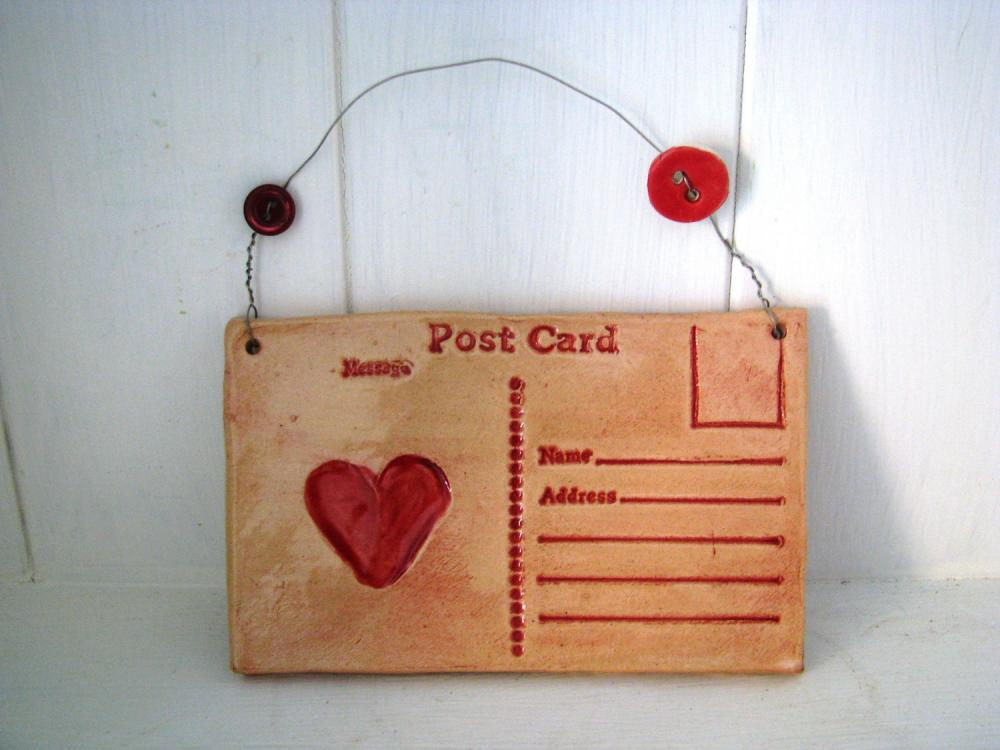 Ceramic Heart Postcard. Lightly glazed in red. Made in Wales, UK, Handmade. Ready to ship.