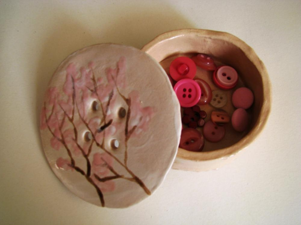 Spring Cherry Blossom Ceramic Button Pot. Handmade in Wales, UK
