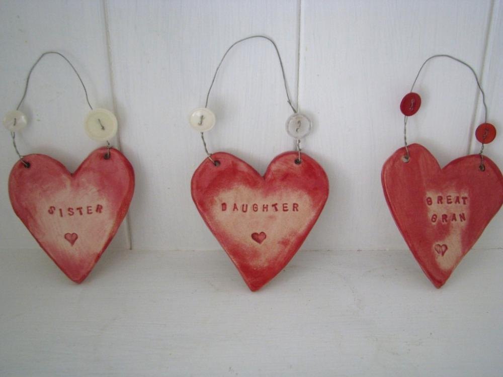 Ceramic 'Relative' Heart. Mam, Mum, Gran, Great Gran, Daughter, Mum in Law, Sister. Handmade in Wales UK