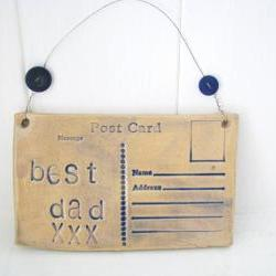 Best Dad - Ceramic postcard with vintage buttons. Fathers Day. Made in Wales, UK. Ready to Ship.